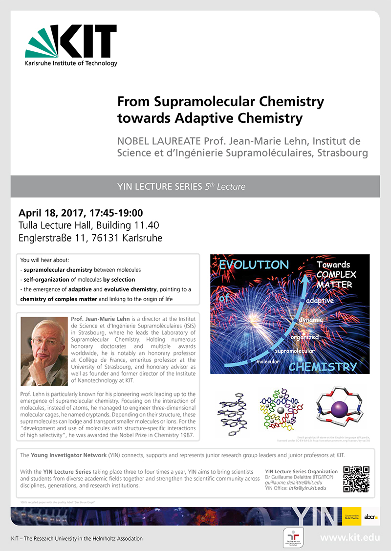 From Supramolecular Chemistry towards Adaptive Chemistry – Prof. Jean-Marie Lehn